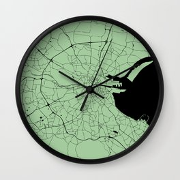 Dublin Street Map Lime Green Wall Clock