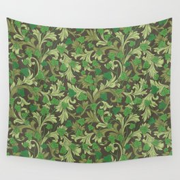 Green ivy with ornament on dark brown background Wall Tapestry