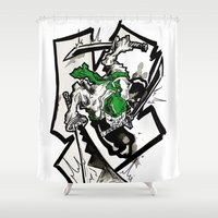 one piece Shower Curtains featuring One Piece - Zoro by RISE Arts