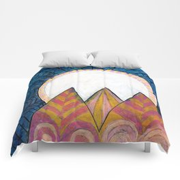Moon Over Mountains at Dusk Comforters