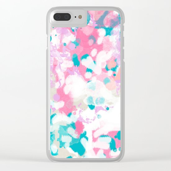 Rhea - abstract minimal painting pink and blue gender neutral nursery Clear iPhone Case