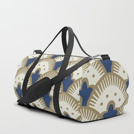Fan Pattern Blue/Gold Duffle Bag