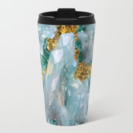 WHITE QUARTZ  CRYSTALS & BLUE-GREEN AQUAMARINE Travel Mug