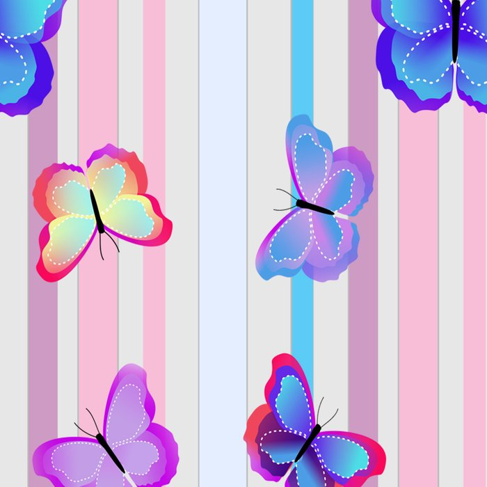 Butterflies and Stripes Pattern Leggings