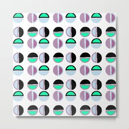 Geometric hand painted black lilac green abstract polka dots Metal Print