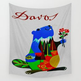 Vintage Davos Switzerland Travel - Beaver Wall Tapestry