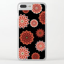Chrysanthemum pattern on black Clear iPhone Case