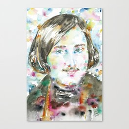 NIKOLAI GOGOL - watercolor portrait Canvas Print
