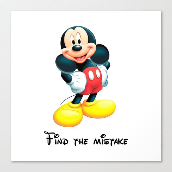 Find the mistake - Mickey Canvas Print