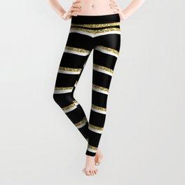 Black Gold White Stripe Pattern 2 Leggings
