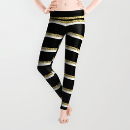 Black Gold White Stripe Pattern 2 Leggings