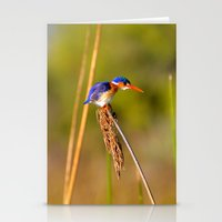 malachite Stationery Cards featuring Malachite Kingfisher by Emma.R
