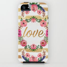 WATERCOLOR FLORAL - LOVE iPhone Case