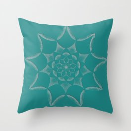 Dot Mandala Dark Green- 3D Pointilism Throw Pillow
