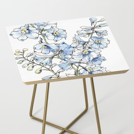 Blue Delphinium Flowers Side Table