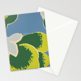 Big Japanese Flower On Blue Background Stationery Cards