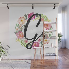 Floral G Monogram Wall Mural