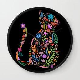 Fancy And Fine Flower Cat Garden Design Wall Clock