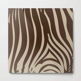 Zebra Stripes   Chocolate Brown and Beige Metal Print