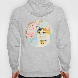 """Hanami"" - Calico Cat and Cherry Blossom Hoody"