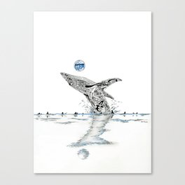 Blue Whale Surf Lineup Canvas Print