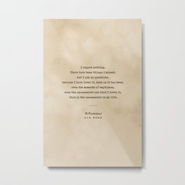 Ayn Rand Quote 03 - Typewriter Quote on Old Paper - Minimalist Literary Print Metal Print