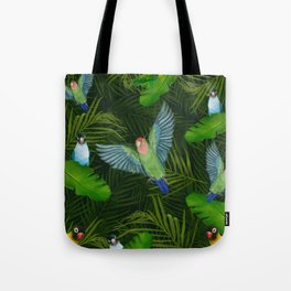 Lovebirds and tropical leafs Tote Bag