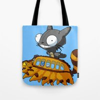 invader zim Tote Bags featuring My Invader Neighbor by HelloTwinsies