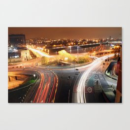 Newport City Roundabout Flare Canvas Print