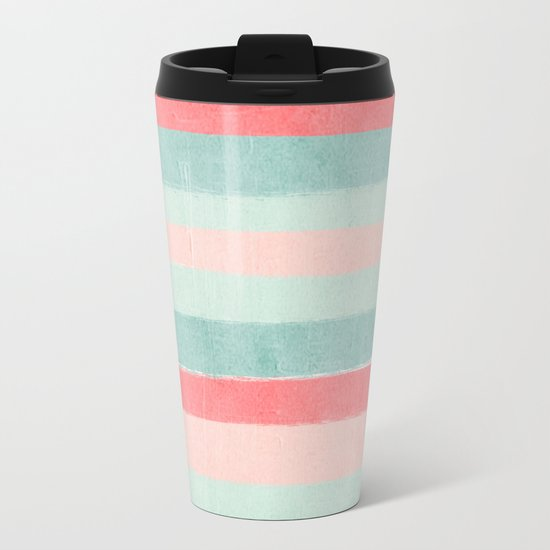 Stripes painted coral minimal mint teal bright southern charleston decor colors Metal Travel Mug