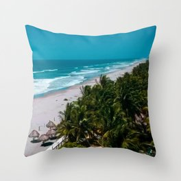 Waves and Palms Throw Pillow
