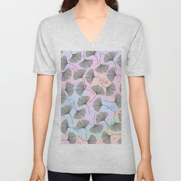 biloba on pastel pink and baby blue watercolor background Unisex V-Neck