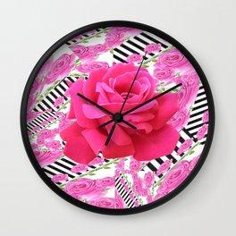 MODERN ABSTRACT CERISE PINK ROSE GARDEN  ART Wall Clock