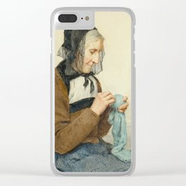 ANKER, ALBERT (1831 Ins 1910) Seated Woman sewing. 1906th Clear iPhone Case