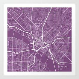 Dallas Map, USA - Purple Art Print