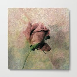Painterly Pink Rose Bud Metal Print