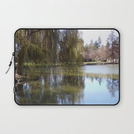 Old Weeping Willow Tree Standing Next To Pond Laptop Sleeve