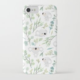 Koala and Eucalyptus Pattern iPhone Case