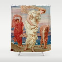 "Frederic Leighton ""Greek Girls Picking up Pebbles by the Sea"" Shower Curtain"
