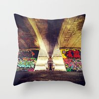 graffiti Throw Pillows featuring 'GRAFFITI' by Dwayne Brown