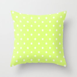 Light Lime Green Background With White Stars Pattern Throw Pillow