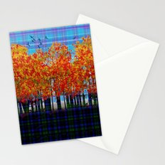 Fall Leaves On Plaid Stationery Cards