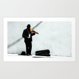 A Violinist Plays on the Streets of Barcelona Art Print