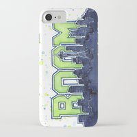 seahawks iPhone & iPod Cases featuring Seattle Legion of Boom Space Needle Skyline Watercolor  by Olechka