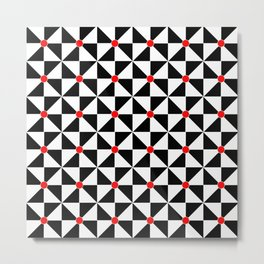 Optical pattern 121 black, white and red Metal Print