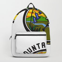 Cross Country Runner Text Oval Retro Backpack
