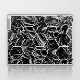 Hex & Swirl - Black and White Marble Pattern Laptop & iPad Skin