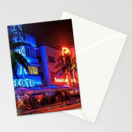 South Beach Miami Portrait in Colorful Time Lapse Paint by Jeanpaul Ferro Stationery Cards