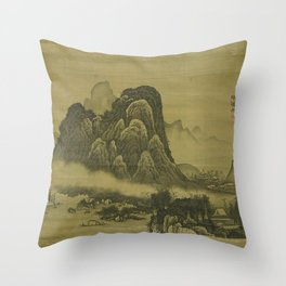 Soga Shōhaku - Mountain Landscape Throw Pillow