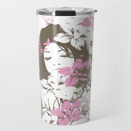 Girl with Flowers Travel Mug